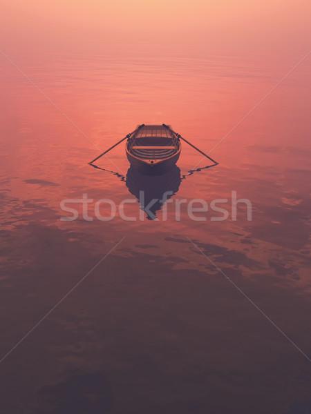 Barco lago puesta de sol 3d ilustración cielo Foto stock © orla