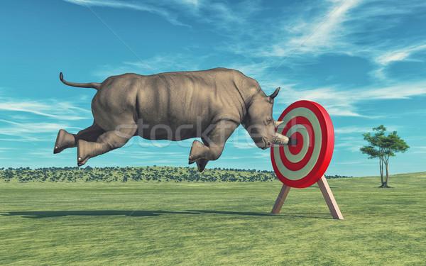 Rinoceronte objetivo 3d ilustración naturaleza diversión Foto stock © orla