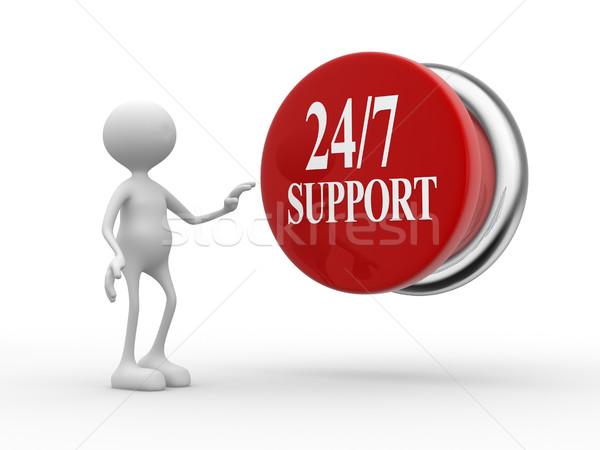 поддержки 3d люди человека человек кнопки текста Сток-фото © orla