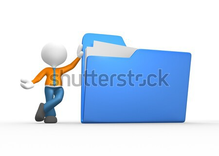 3d people - man, person with a folders  Stock photo © orla