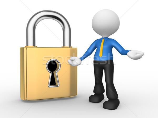 Stockfoto: Slot · 3d · mensen · man · persoon · groot · sleutelgat