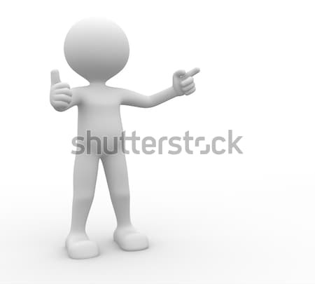3d people - man, person presenting - pointing. Ok Stock photo © orla