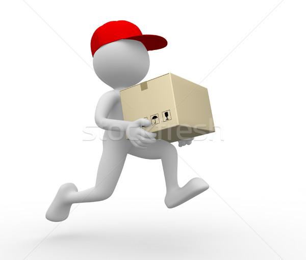 Postino consegna la gente 3d uomo persona pacchetto Foto d'archivio © orla