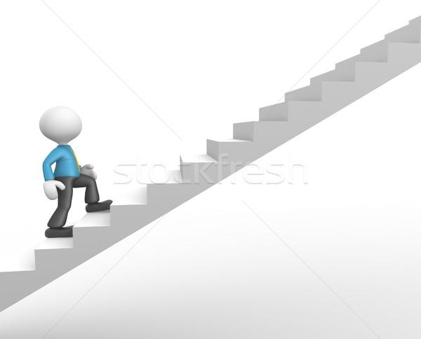 Stockfoto: Zakenman · 3d · mensen · man · persoon · klimmen · trap