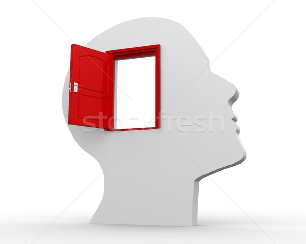 オープンドア 3D 人間 頭 3dのレンダリング ドア ストックフォト © orla