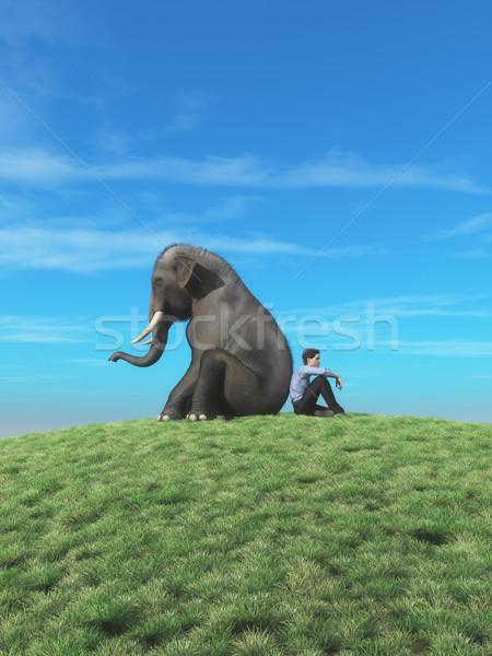 Hombre elefante superior colina mirar horizonte Foto stock © orla