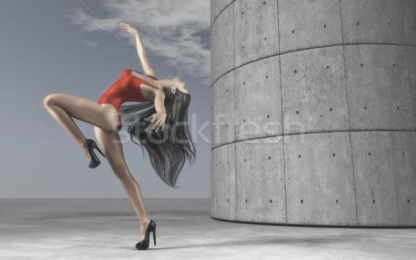 Jonge vrouwen dansen outdoor prachtig vrouw Stockfoto © orla