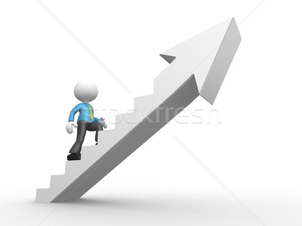 ビジネスマン 3次元の人々 男 人 登山 階段 ストックフォト © orla