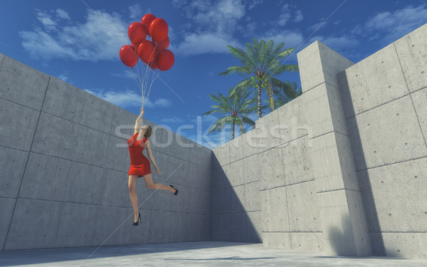 Young girl in dress with red balloons  Stock photo © orla