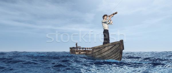 Hombre viendo barco mar 3d ilustración Foto stock © orla
