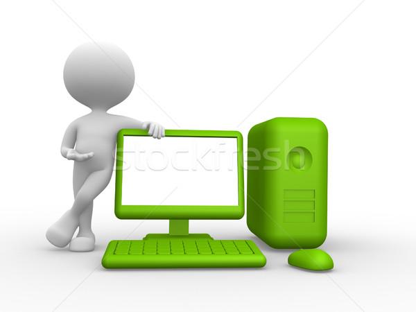 Verde computador 3d pessoas homem pessoa laptop Foto stock © orla