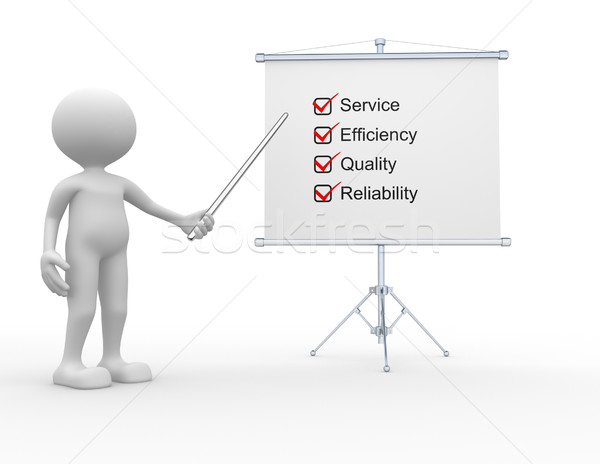 Evaluatie 3d mensen man persoon grafiek vergadering Stockfoto © orla