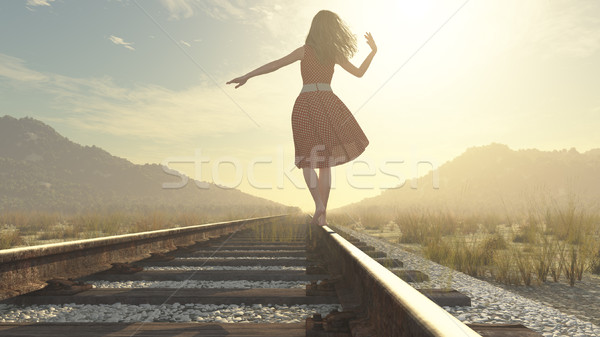 A walking girl on the railway  Stock photo © orla