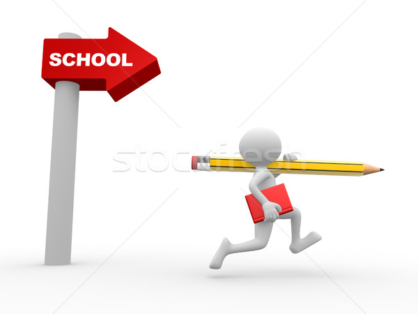 Directional sign. School Stock photo © orla