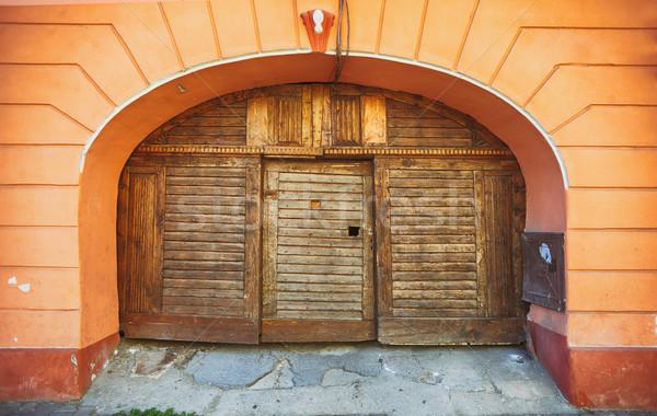 Old wooden double door  Stock photo © orla