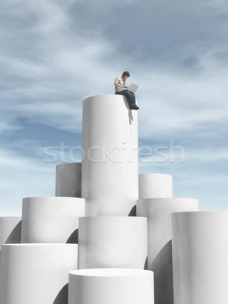 Człowiek stoją w górę cylinder posiedzenia górę Zdjęcia stock © orla