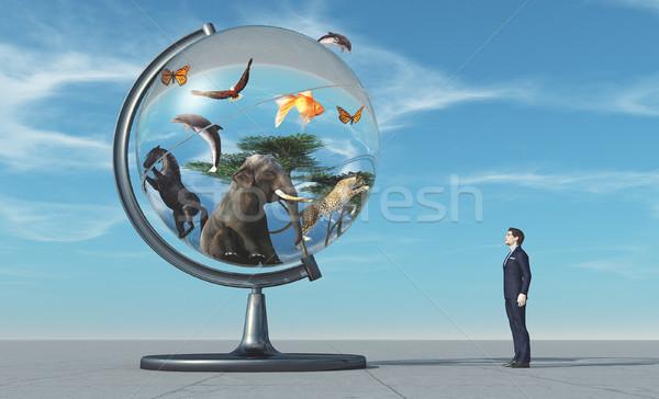 Adam dünya hayvanlar mavi 3d render örnek Stok fotoğraf © orla