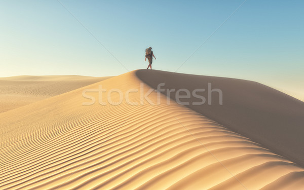The man at the deserts landscape Stock photo © orla