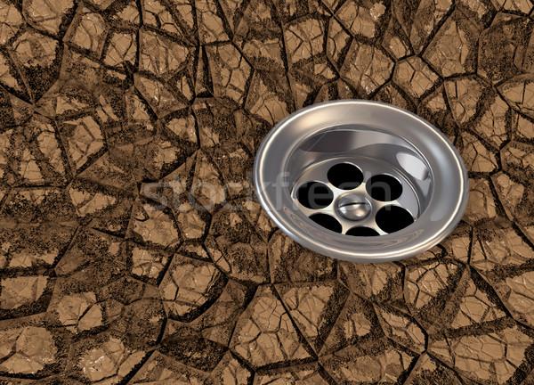 Trockenheit Badewanne trocken Land Oberfläche 3d render Stock foto © orla