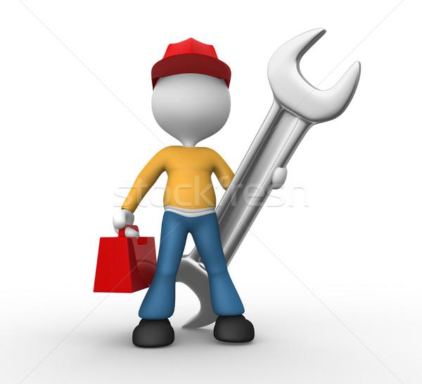 Mechanisch ingenieur 3d mensen man persoon sleutel Stockfoto © orla