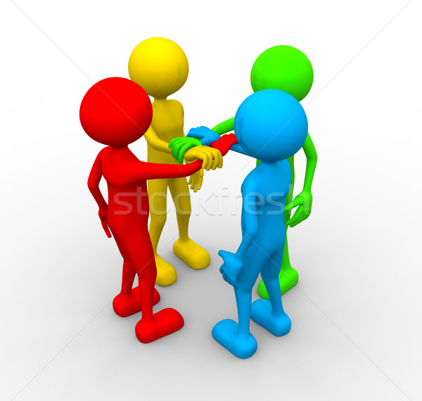 3d people holding hands together Stock photo © orla