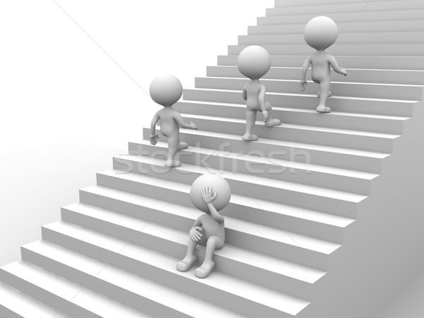 Lépcsősor 3d emberek férfi személy nyomasztó férfiak Stock fotó © orla