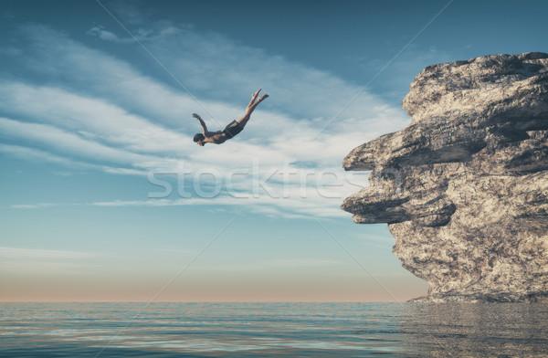 Homem oceano penhasco 3d render ilustração esportes Foto stock © orla
