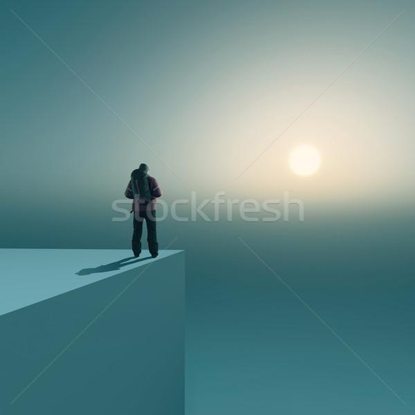 Randonneur sac à dos voyageur haut cube regarder Photo stock © orla
