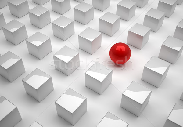 Rojo esfera cubos red 3d ilustración Foto stock © orla