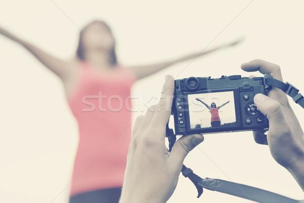 Fotografo foto foto ragazza donne Foto d'archivio © orla