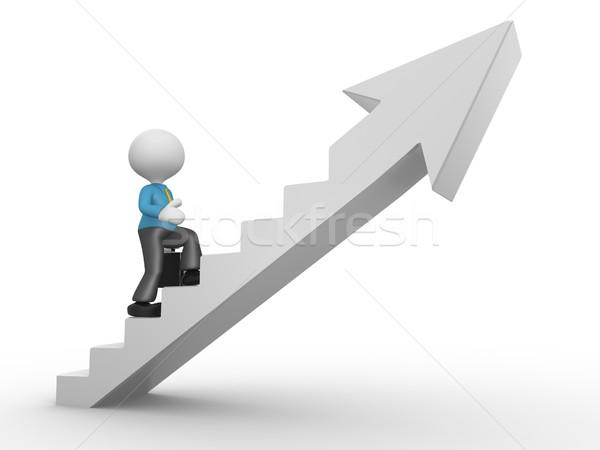 Empresario 3d personas hombre persona escalada escaleras Foto stock © orla