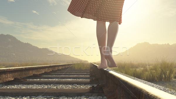 Marche pieds nus fille chemin de fer rendu 3d illustration Photo stock © orla