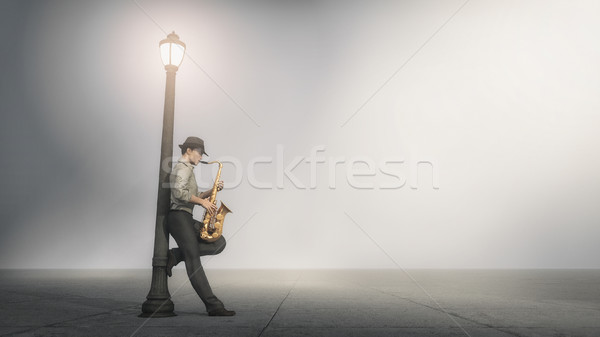 Singer saxophone supported by a pole Stock photo © orla