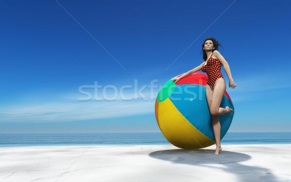 Gyönyörű nő strandlabda visel fürdőruha nagy trópusi sziget Stock fotó © orla