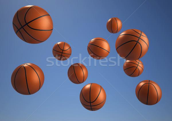 Kosárlabda repülés kék félénk 3d render illusztráció Stock fotó © orla