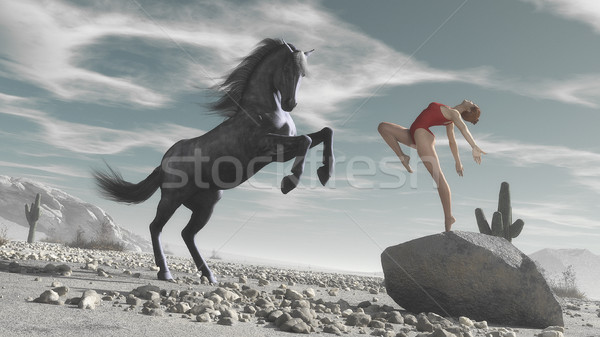 Horse and woman Stock photo © orla