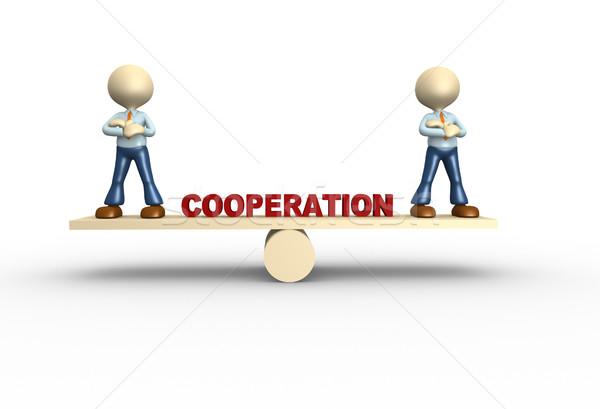 Cooperação 3d pessoas homem pessoa saldo negócio Foto stock © orla
