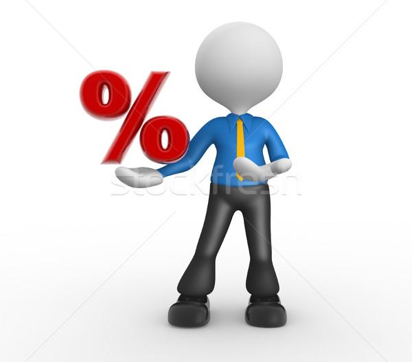 бизнесмен 3d люди человека человек процент знак Сток-фото © orla