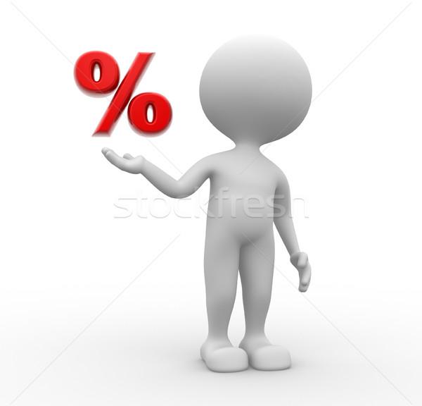 процент знак 3d люди человека человек бизнесмен Сток-фото © orla