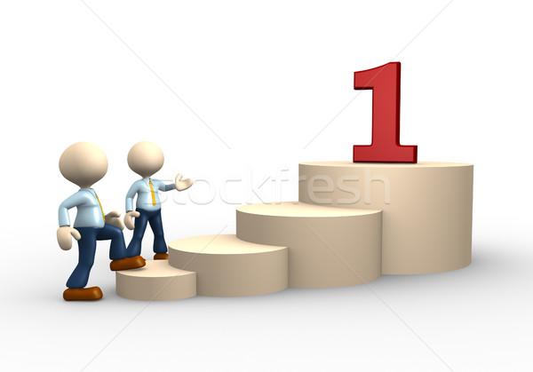 Szám 3d emberek férfi személy üzletember asztal Stock fotó © orla