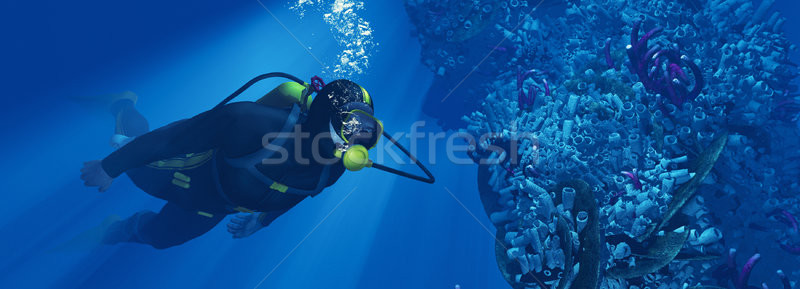 Silhouette of young man scuba diver  Stock photo © orla