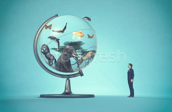 Man concerned by a globe Stock photo © orla