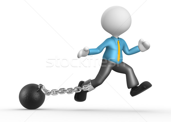 Empresario 3d personas hombre persona cadena pelota Foto stock © orla
