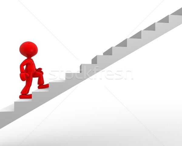 Lépcső 3d emberek férfi személy mászik lépcsősor Stock fotó © orla