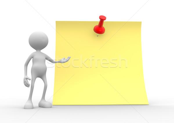 3d insanlar adam kişi sarı kâğıt mesaj Stok fotoğraf © orla