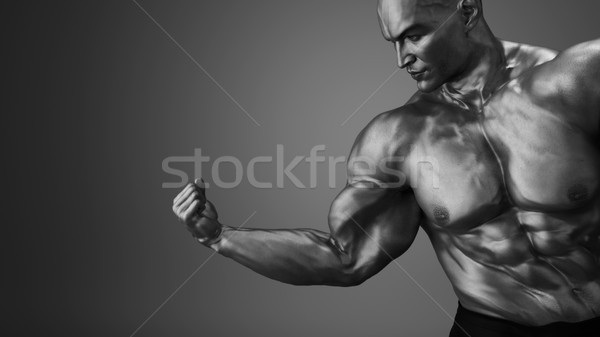 Posando bíceps fitness hombre 3d Foto stock © orla