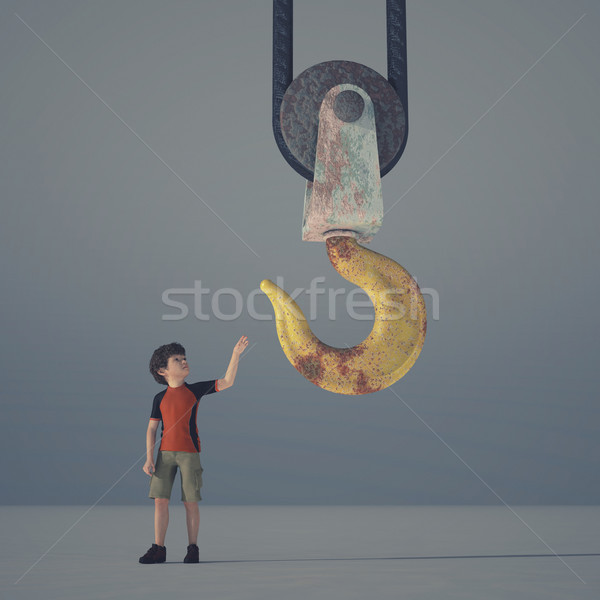 Little boy reaching a crane hook  Stock photo © orla