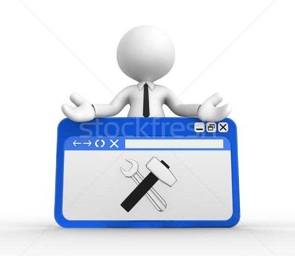 Böngésző 3d emberek férfi személy szerszámok szolgáltatás Stock fotó © orla