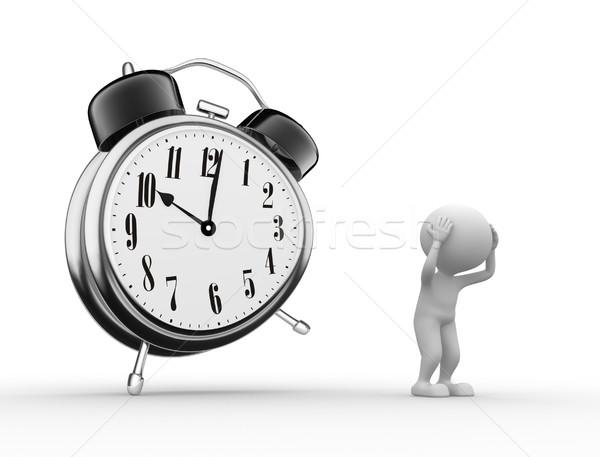 Klok 3d mensen mannen wekker verdriet man Stockfoto © orla