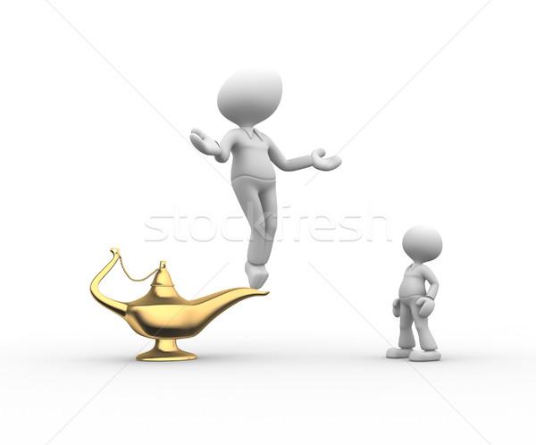 Lampe 3D-Menschen Männer Person golden Mann Stock foto © orla